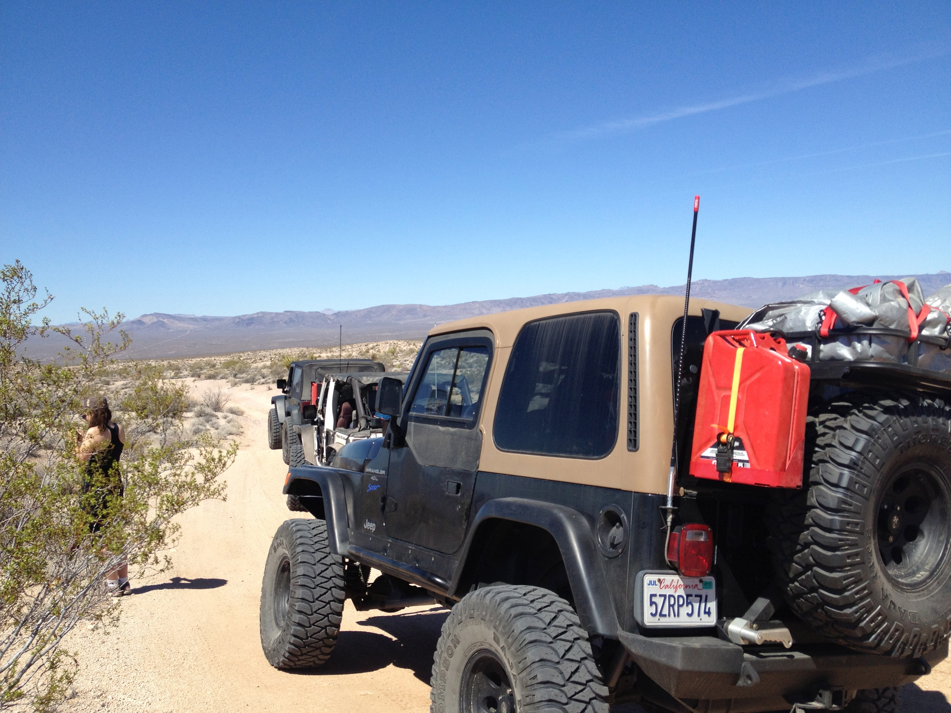 Our Spare Tire Rack Loaded Up With Firewood And Gas On The Mojave Trail.